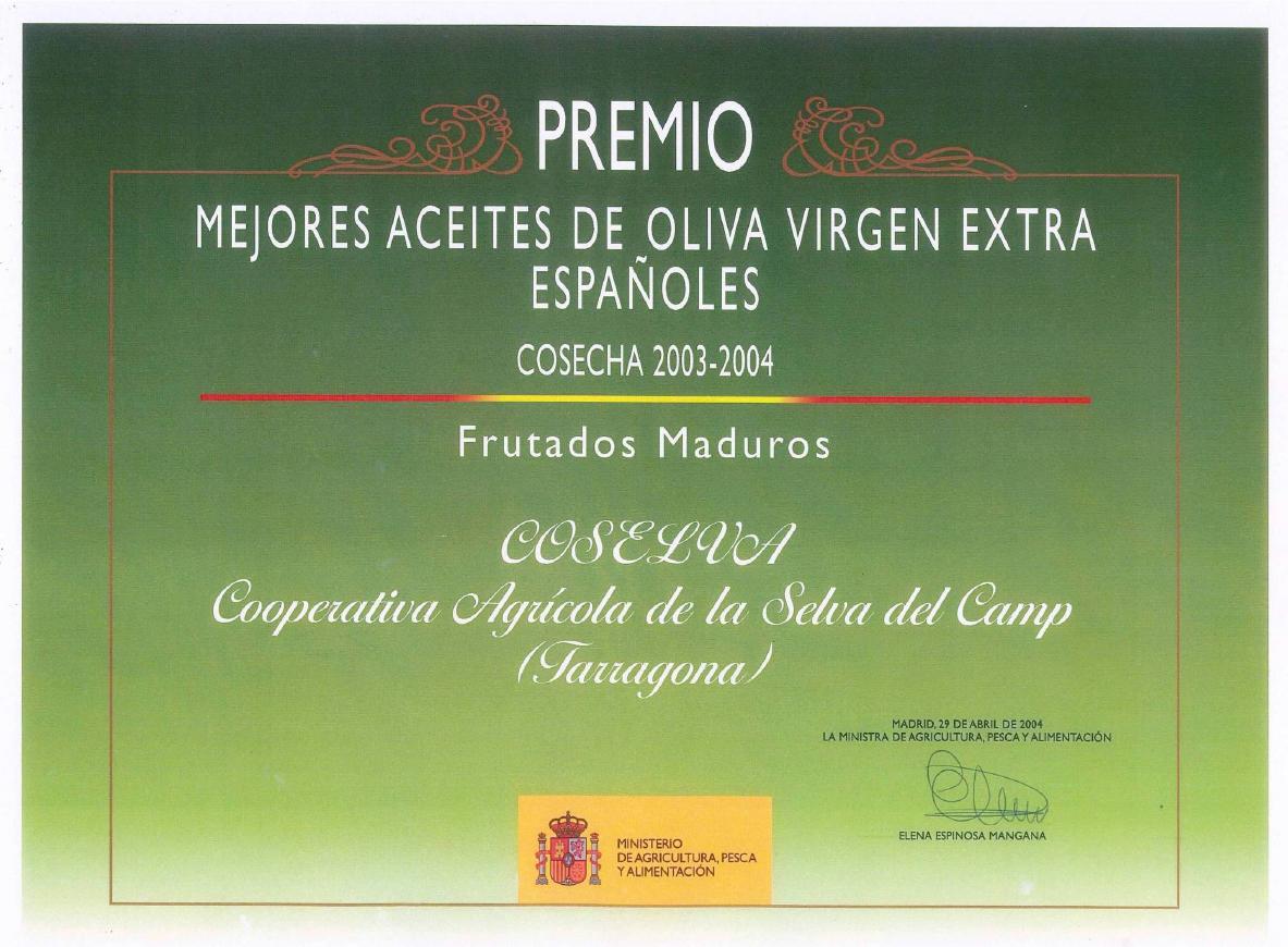 Preis für eines der besten fruchtigen und reifen spanische Olivenöle 2003-2004