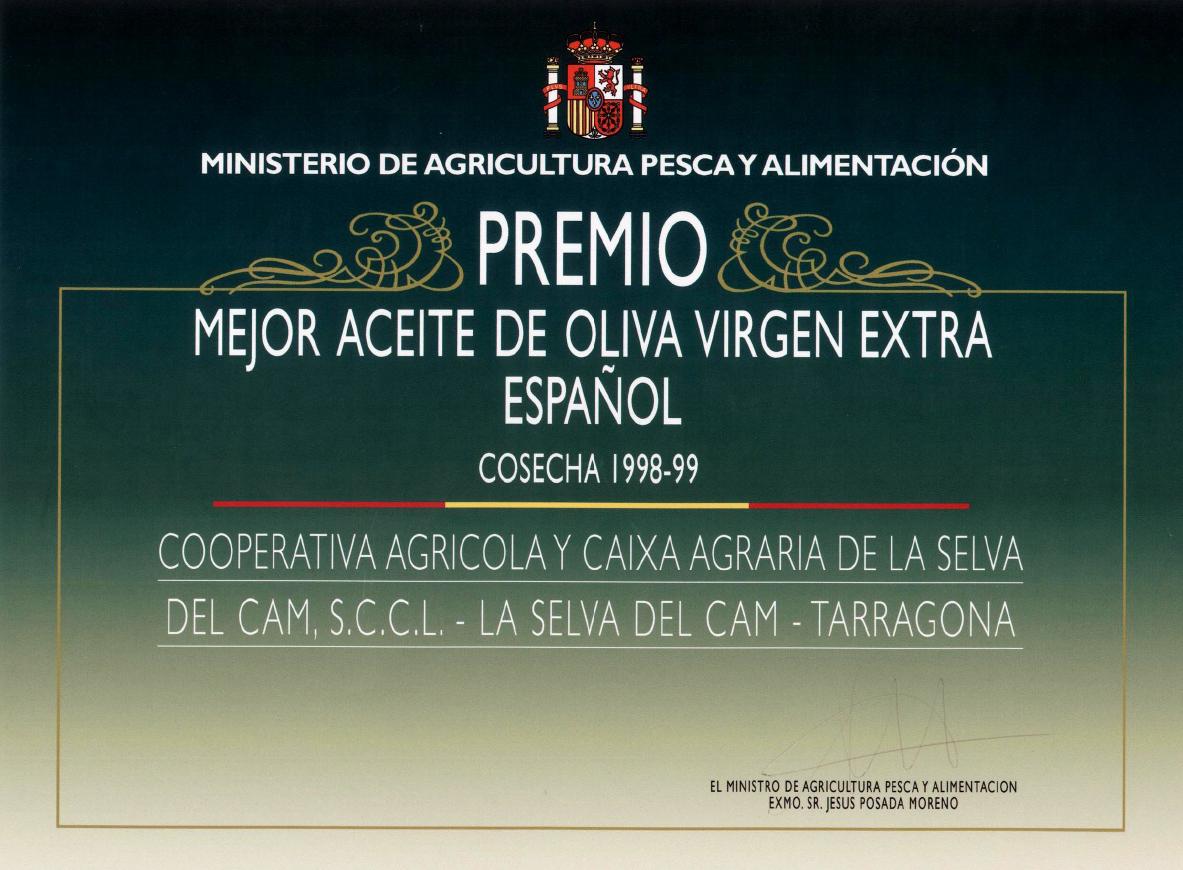 Preis für das beste kaltgepreßte spanische Olivenöl 1998-1999